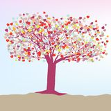 Romantic tree with hearts template card. EPS 8 Royalty Free Stock Photos
