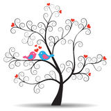 Romantic tree with inlove couple birds stock illustration