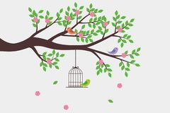 Simple Romantic Tree Vector With Bird And Birdcage royalty free illustration