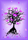Romantic tree silhouette with birds. Color illustration of tree and flying birds royalty free illustration