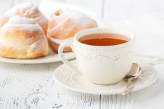Romantic tropical breakfast Danish pastry, coffee Royalty Free Stock Photography