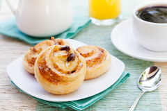 Romantic tropical breakfast Danish pastry, coffee Royalty Free Stock Image