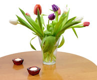 Romantic tulip bouquet on the table Royalty Free Stock Photo