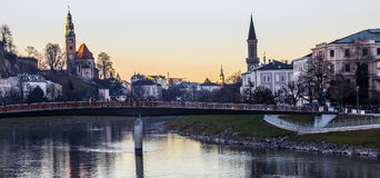 Romantic Twilight view Day Scene of Salzburg Old Town with Makartsteg Bridge and Salzach River as foreground, Salzburg Royalty Free Stock Photo