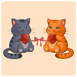 Romantic Two cats in Love Stock Photo