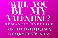 Romantic typeface. Valentines day Invitation font. Lettering illustration vector illustration
