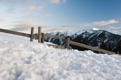 Romantic tyrolean mountains at twilight, much snow Royalty Free Stock Photo