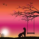 Romantic under the tree, Vector illustrations. Black royalty free illustration