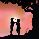 Romantic under the tree, Vector illustrations Royalty Free Stock Image