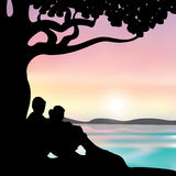 Romantic under the tree, Vector illustrations Royalty Free Stock Images