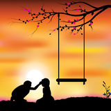 Romantic under the tree, Vector illustrations Stock Photo