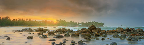 Romantic untouched tropical beach on sunset, Sri Lanka Royalty Free Stock Photography