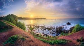 Tropical beach on sunset stock image