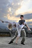 Romantic urban couple dancing outdoor Royalty Free Stock Photos