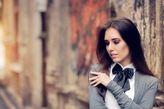Romantic Urban Girl with Bowtie Accessory Stock Photography