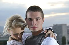Romantic urban young couple. Outdoor Royalty Free Stock Image