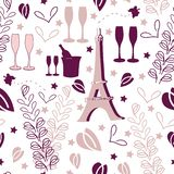 Romantic Vacation-Love in Parise Seamless Repeat Pattern Background stock illustration