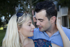 Romantic vacation photo with a yong caucasian couple Royalty Free Stock Images