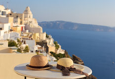 Romantic vacation in Santorini concept Royalty Free Stock Photos