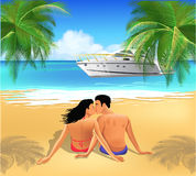 Romantic vacation. Vector illustration of a couple kissing on the beach in a romantic vacation Stock Photography