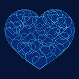 Romantic valentine card with Big blue heart. Filled with many small outline hearts on dark background Stock Photos