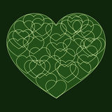 Romantic valentine card with Big green heart. Filled with many small outline hearts on dark background Stock Photography