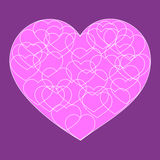 Romantic valentine card with Big pink sweet heart. Romantic valentine card with Big pink heart filled with many small outline hearts on dark background Royalty Free Stock Photo