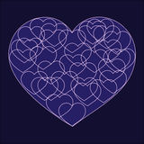 Romantic valentine card with Big violet heart. Filled with many small outline hearts on dark background Stock Image