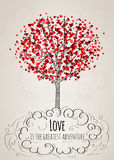 Romantic Valentine card with a tree Stock Photo
