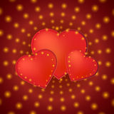 Romantic valentine day card with red hearts Stock Photo