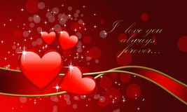 Romantic valentine day illustration. Romantic valentine day illustration with greeting Stock Images