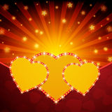 Romantic valentine day shiny card with hearts Stock Image
