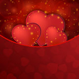 Romantic valentine day shiny card with red hearts Stock Photography