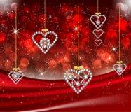 Romantic Valentine Diamond Hearts Red Background Stock Photos