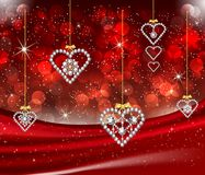 Romantic Valentine Diamond Hearts Red Background. Luxury, elegant, love wallpaper for Valentine`s Day or for Christmas. Red bokeh lights, gold sparkle, glowing Vector Illustration