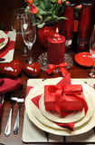 Romantic Valentine Dinner for Two (Vertical). Red romantic Valentine dinner for two table setting Royalty Free Stock Images