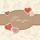 Romantic Valentine invitation postcard Stock Images