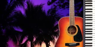 Romantic Valentine Love Song by Guitar and piano. Romantic Valentine Love Song by Guitar and piano with twilight dramatic atmosphere on silhouette palm tree Stock Photography