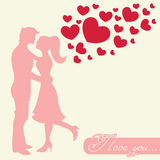 Romantic Valentine lovers silhouette Stock Images