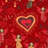 Romantic valentine pattern with angel Stock Images