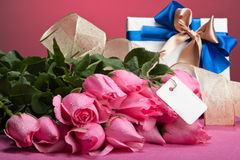 Romantic valentine presents. With pink background Stock Images