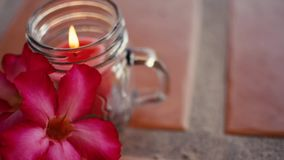 Romantic Valentine's Day Candle and flowers stock video footage