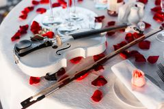 Romantic Valentine`s Day dinner setup with rose petals. Romantic Valentine`s Day dinner, red decoration with rose petals, violin and wineglasses in a restaurant royalty free stock photos