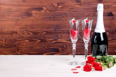 Romantic Valentine's Day with glasses with roses and hearts, cha Royalty Free Stock Images