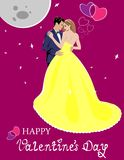 Lovers in Valentines Day. Romantic Valentine`s Day illustration with sweet pair, hearts, moon and stars on a red background. Design for postcard, banner, poster Royalty Free Stock Photos