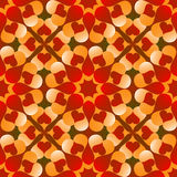 Romantic Valentine's seamless pattern with flowers of red and orange gradient heart shapes on red and green gradient  background Stock Photos