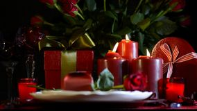 Romantic Valentine table setting stock video