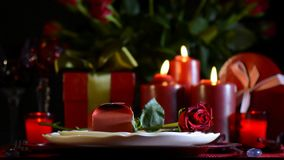 Romantic Valentine table setting, front focus. stock video footage