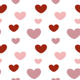 Romantic valentine texture with pink and red heart seamless pattern background. Romantic valentine texture with pink and red heart seamless vector pattern Stock Images