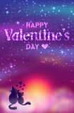 Romantic Valentines Day Card Of Cute Cats. Royalty Free Stock Image